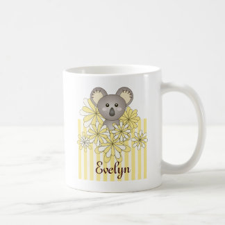 Cute Animal Baby Koala Yellow Striped Kids Name Coffee Mug
