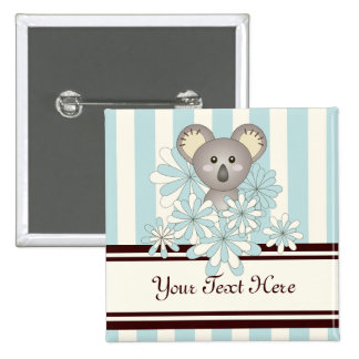 Cute Animal Baby Shower / Birthday Pastel Blue 2 Inch Square Button