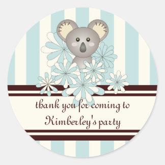 Cute Animal Baby Shower | Kids Birthday Favor Blue Classic Round Sticker
