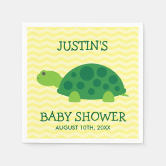 Cute animal baby shower napkins with green turtle disposable napkins