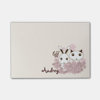 Cute Animal Cartoon Girl Friendship Kids Name Post-it® Notes