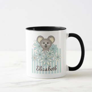 Cute Animal Cartoon Koala Pastel Blue Kids Name Mug