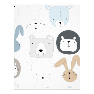 Cute animal cartoon teddy bear ,lion and rabbit letterhead
