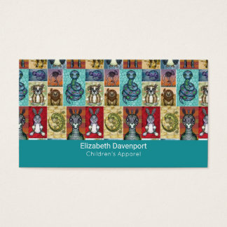 Cute Animal Collage Folk Art Design Business Card