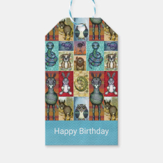 Cute Animal Collage Folk Art Design Happy Birthday Pack Of Gift Tags