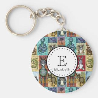 Cute Animal Collage Folk Art Design Personalized Keychain
