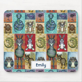 Cute Animal Collage Folk Art Design Personalized Mouse Pad