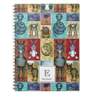 Cute Animal Collage Folk Art Design Personalized Notebooks