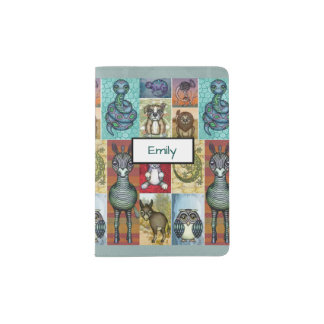 Cute Animal Collage Folk Art Design Personalized Passport Holder