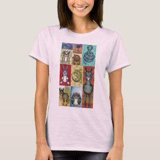 Cute Animal Collage Folk Art Design T-Shirt