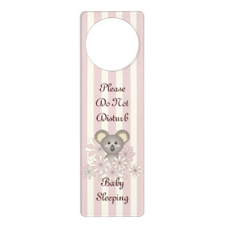 Cute Animal Do Not Disturb Baby Girl Nursery Pink Door Hangers