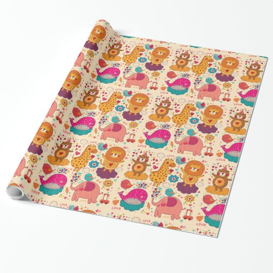Cute Animal & Floral Wrapping Paper