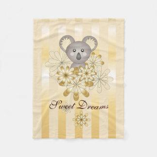 Cute Animal Gold Effect Stripe Personalized Kids Fleece Blanket