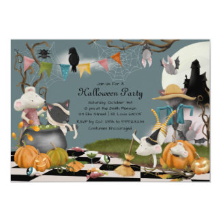 Cute Animal Halloween Party Invitation