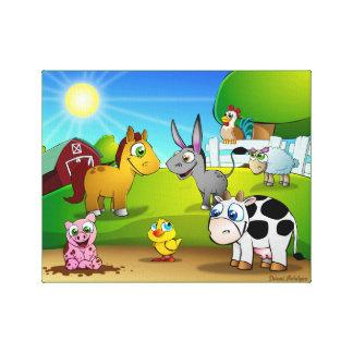 Cute animal kingdom - Farm Canvas Print