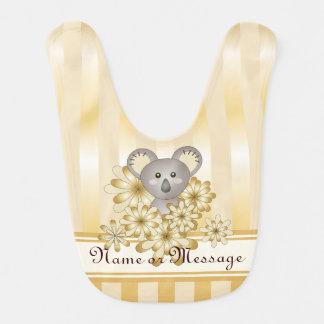 Cute Animal Koala Gold Effect Stripe Christmas Bib