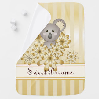 Cute Animal Koala Gold Effect Striped Boy | Girl Baby Blanket