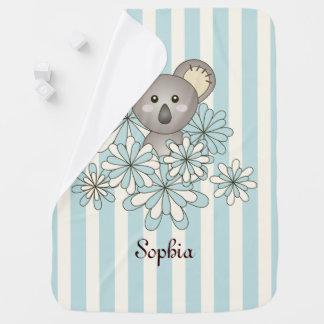 Cute Animal Koala Pastel Blue Stripe Personalized Swaddle Blankets
