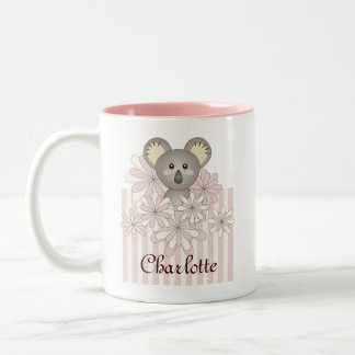 Cute Animal Original Pastel Pink Striped Kids Name Two-Tone Coffee Mug