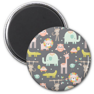 Cute Animal Party 2 Inch Round Magnet