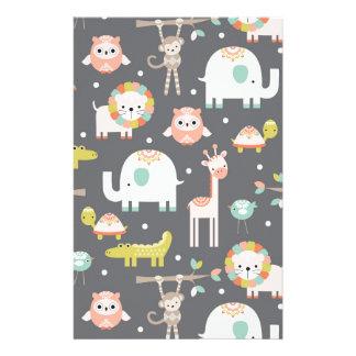 Cute Animal Party Custom Stationery