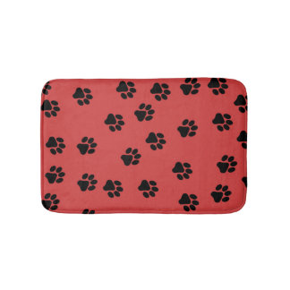 Cute Animal Paw Print Pattern Black Bath Mat