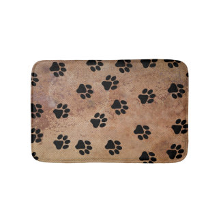 Cute Animal Paw Print Pattern Black Gold Bath Mat