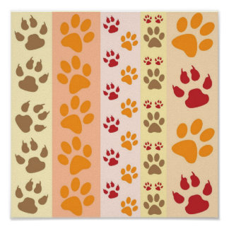 Cute Animal Paw Prints Pattern in Natural Colors