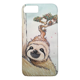 Cute Animal Sloth with Bonsai Tree house iPhone 8/7 Case