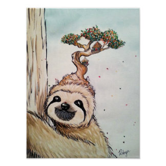 Cute Animal Sloth with Bonsai Tree house Poster
