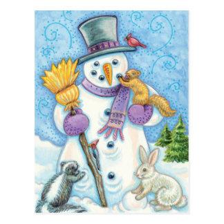 Cute Animals Building a Snowman for Christmas Postcard
