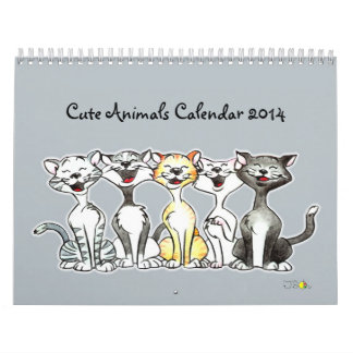 cute animals calendar 2014