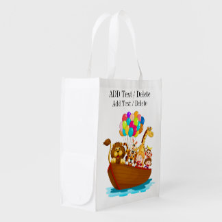 Cute Animals in Boat Tote Grocery Bags