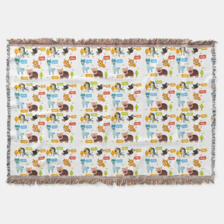 Cute Animals Kids Pattern Throw Blanket