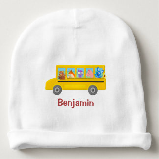 Cute Animals on the School Bus | Personalized Name Baby Beanie