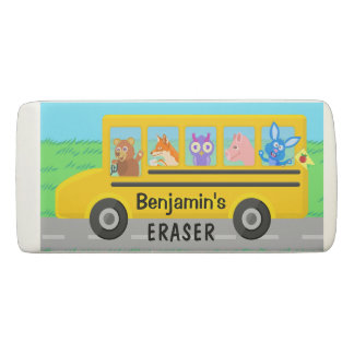 Cute Animals on the School Bus | Personalized Name Eraser