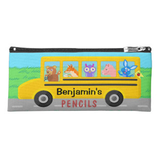 Cute Animals on the School Bus | Personalized Name Pencil Case