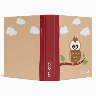 Cute Animals Owl 3 Ring Binder