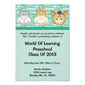 Cute Animals Preschool Or Kindergarten Graduation Custom Announcements