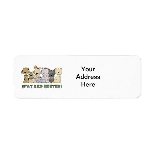 Cute Animals Spay and Neuter Text Return Address Label