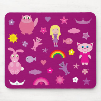 Cute Animals & Stuff For Girls Customizable Pink Mousepad