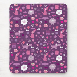 Cute Animals & Stuff For Girls Purple Mousepad
