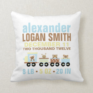 Cute Animals Toy Train Birth Announcement Pillows