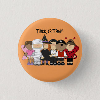Cute animated children with Halloween Costumes 1 Inch Round Button
