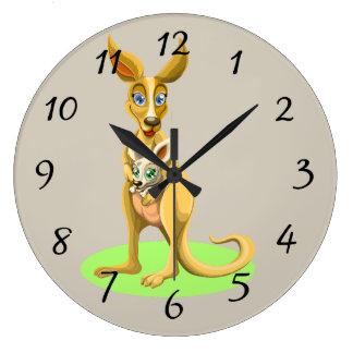 Cute animated Kangaroo with baby Large Clock