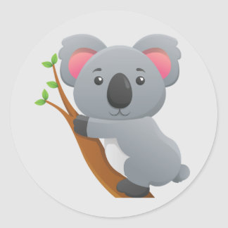 Cute Animated Koala Bear Round Sticker