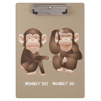 Cute animated monkeys clipboards