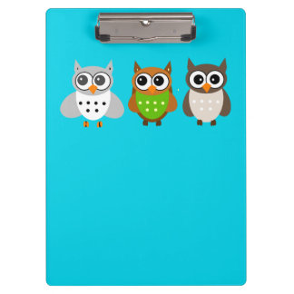 Cute Animated Owls Clipboards
