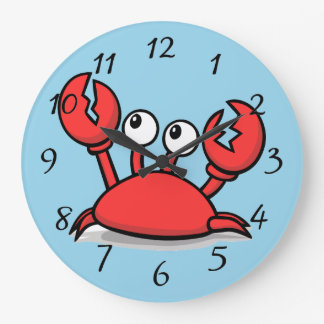 cute animated red crab large clock