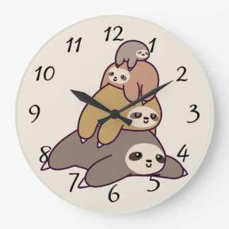 Cute animated Sloths Large Clock